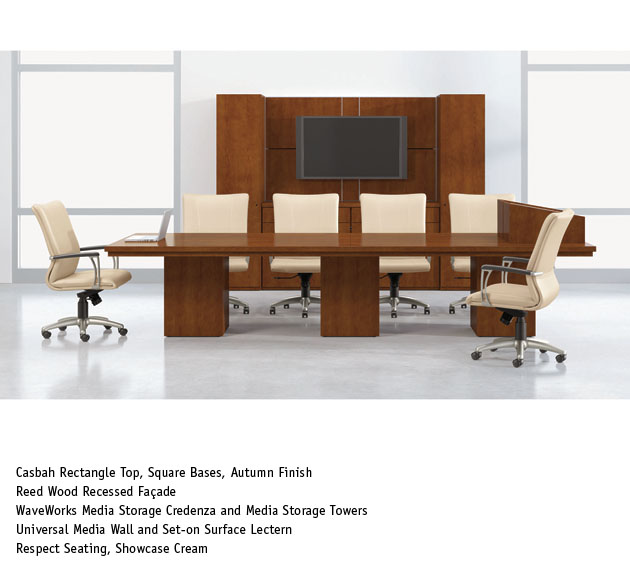 National Office Furniture WaveWorks Table With Mixit Taskwork - Conference national table
