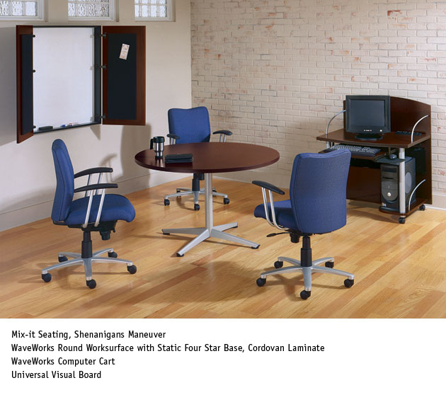 national office furniture waveworks table with mix it task work in