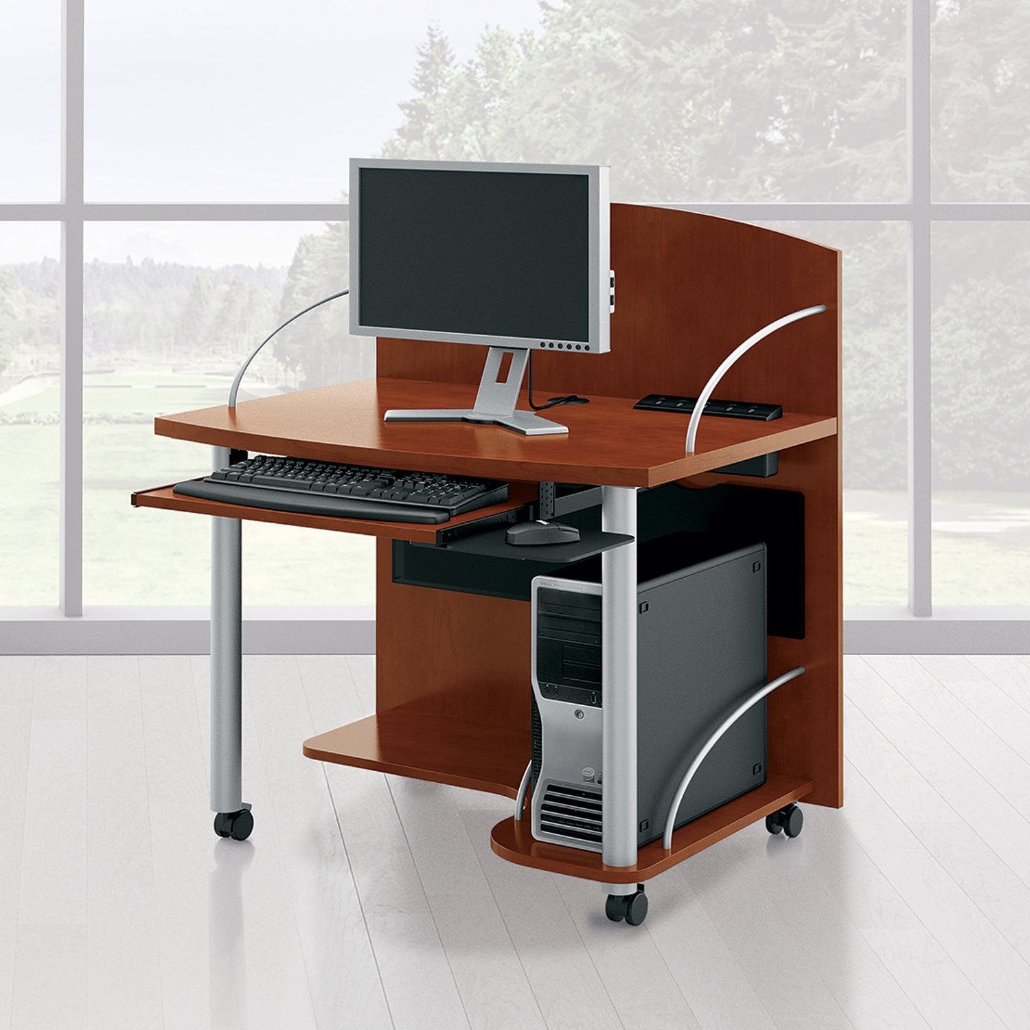 Desktop computer furniture Computer Lab Waveworks Mobile Computer Cart Business Insider Accessories Accents Products National Office Furniture