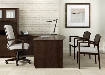 Clever Casegoods Mocha Finish Eloquence Executive Seating Fabric Discontinued Guest